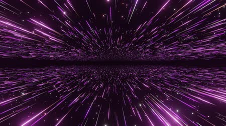 célere : Abstract hyperspace background. Speed of light, neon glowing rays and stars in motion with space for logo or text. Violet version. Moving through stars. 4k Seamless loop