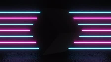 Neon background with black cube. Purple and blue neon background appears and disappears. Bright live neon background. 4k Stock Footage