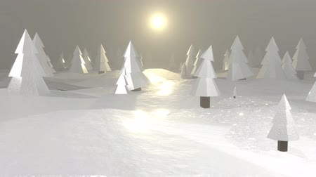 Winter forest. Abstract low-poly animation. Christmas trees. Move the camera forward. Loop 3D animation 4K Stock Footage