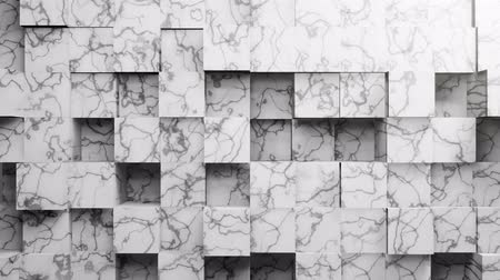 cubismo : 3D Abstract Marble Cubes Looped Animation. White Wall Moving. Loop Seamless Background in 4k Ultra HD.