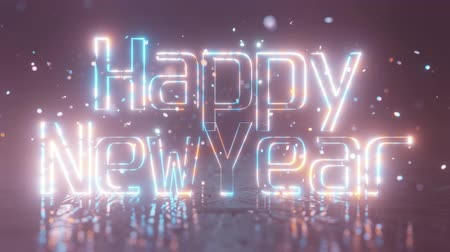 élénk : Happy New year 2020. The inscription Happy New Year is lit with bright warm blue neon light and shimmers, against confetti and bokeh. 4K background. Stock mozgókép