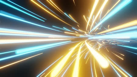 Bright looped 4K background. Flying in a tunnel with glowing lines. Motion graphic. Digital technology. Futuristic technology abstract background with lines for network, big data, data center.
