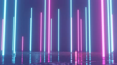 Vertical glowing lines move in space. Abstract fluorescent background. Neon background. 4K loop animation.