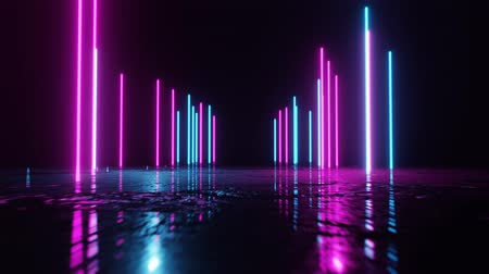 Vertical glowing lines move in space and flashes. Abstract fluorescent background. Neon background. 4K loop animation.