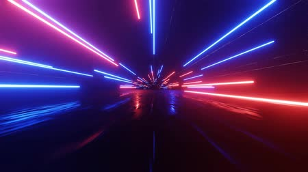 floodlight : Horizontal glowing lines move in space. Abstract fluorescent background. Hyperspace Neon background. 4K loop animation. Stock Footage