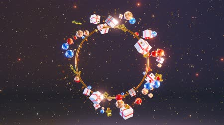 Christmas background. The new year 2020. Festive background. Colorful Christmas balls, gifts and Golden stars moves around the Golden ring against the background of falling gold confetti. Loop 4K Stock Footage
