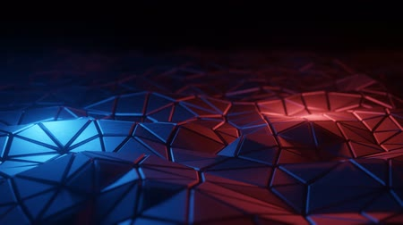 Abstract 3D visualization of a geometric low-poly surface. Computer animation loop. Modern background with polygonal shape. Loopable motion design 4k UHD