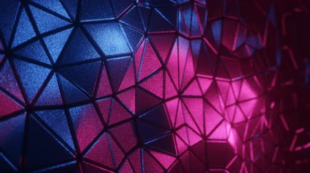 Abstract 3D visualization of a geometric low-poly surface. Computer animation loop. Modern background with polygonal shape. Neon light. Loopable motion design 4k UHD