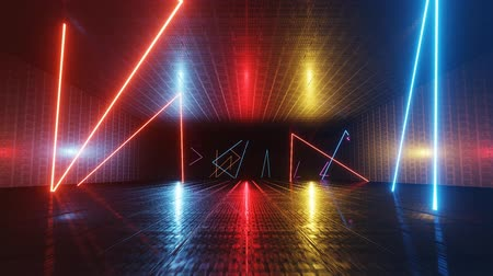 Abstract neon background. Flying through the corridor of neon lines. Sci-fi background. Seamless loop 4K animation. Stock Footage