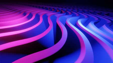 4k 3D animation of wavy rows. Neon background. Abstract backdrop. Loop animation.