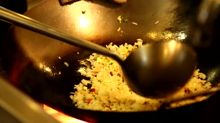 exotic dishes : Chef cooking fried rice in a restaurant
