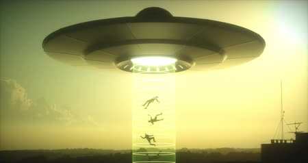 other planet : Concept of alien abduction. People levitating into the alien ship. Stock Footage