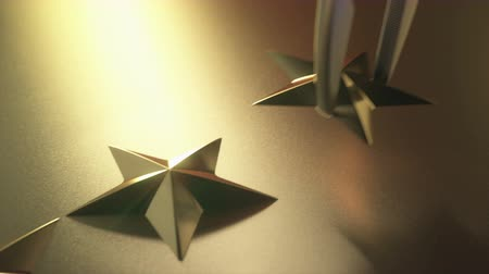 hodnost : Golden stars in high relief. Concept of good qualification.
