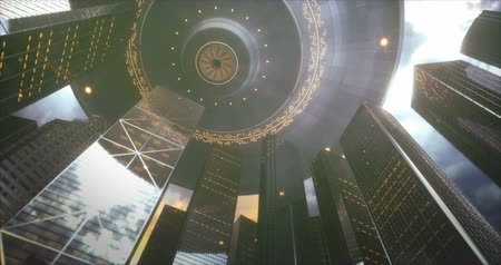 Space alien ship UFO, over skyscrapers. Conceptual image of ufology.