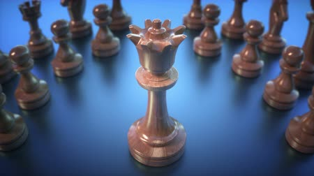 combate : The Queen in highlight. Pieces of chess game, image with shallow depth of field.