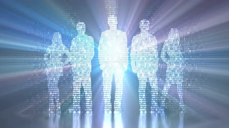 Binary light coming out of the silhouette of a group of people. Concept image of the digitized and globalized world.