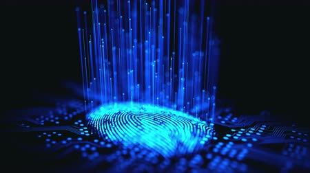 Fingerprint integrated in a printed circuit, releasing binary codes. Wideo