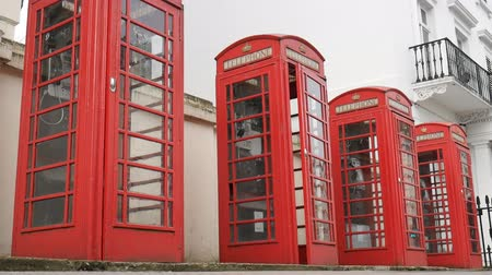 covent : London. English red telephone booths. Stock Footage