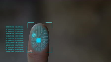 fingerabdruck : Mikroschiff-Scannen zur Hand und digitales Datenhologramm. Videos