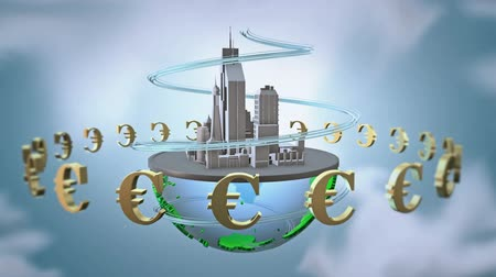 euro : Urban world with euro. loop animation.