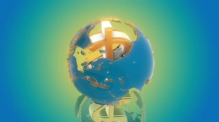 sembol : Dollar symbol as axis of the world. Loop animation. Blue background