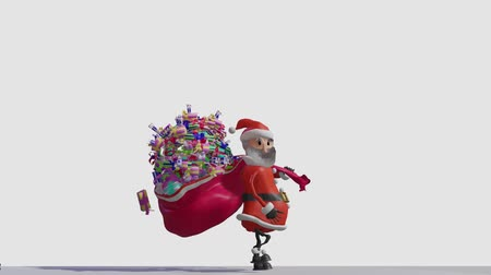 Santa Claus carries a bag with gifts, losing boxes on the way. Merry Christmas and Happy New Year 2020 animation.