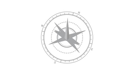 хронометр : Footage modern compass animation. Isolated on white background.