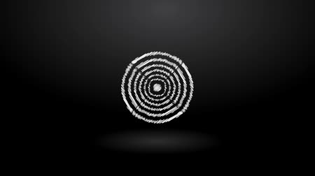 spiral : ibrating white scribbles on black background in rotating fan shaped icon of sound Stock Footage