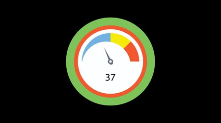 tachometer : Speed meter animation. Isolated on black background.
