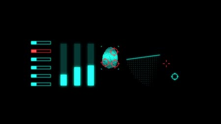 kilometer : Set of hologramic identification. Isolated on the black background. Stock Footage