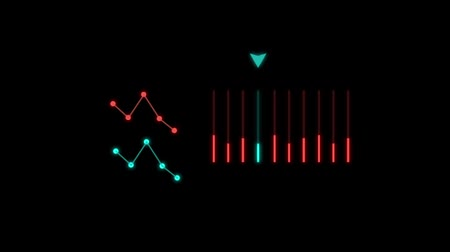 Hologramic animated waves and bar. Isolated on the black background.