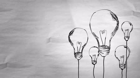 innovator : Sketch Many Bulbs with alpha matte looping animation - 4K Resolution (Ultra HD) Stock Footage