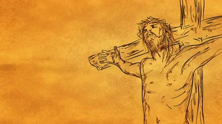 coroa : Jesus on cross Sketch Looping Animation with alpha matte - 4K Resolution (Ultra HD) Vídeos