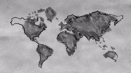 çizmek : World Map Sketching Looping Animation (Black and White)  - 4K Resolution (Ultra HD) Stok Video