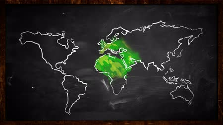 arquejo : World sketch green painting Looping Animation - 4K Resolution (Ultra HD) Stock Footage