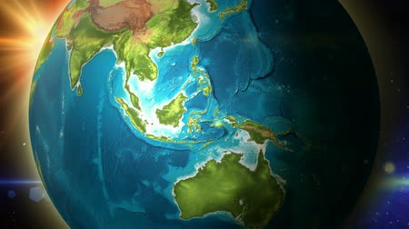 indonesia : Globe zoom to Indonesia Rotation - 4K Resolution (Ultra HD) Stock Footage