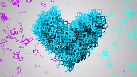 notlar : Blue Love Musical Note Particles Loop Animation - 4K Resolution Ultra HD (UHD)