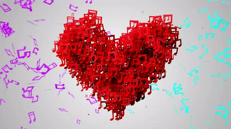 koncert :  Red Love Musical Note Particles Loop Animation - 4K Resolution Ultra HD (UHD)