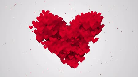 годовщина :  Red Love Shape Particles white background - 4K Resolution Ultra HD (UHD)