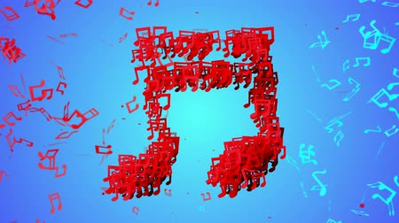 поп :  Red Musical Note Particles blue background Loop Animation - 4K Resolution Ultra HD (UHD)