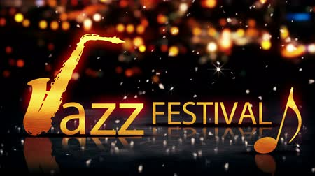 tittle : Jazz Festival Saxophone Gold City Bokeh Star Shine Yellow 3D Loop Animation - 4K Resolution Ultra HD UHD