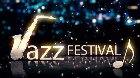 saxofone : Jazz Festival Saxophone Silver City Bokeh Star Shine Blue 3D Loop Animation - 4K Resolution Ultra HD UHD