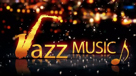 music show : Jazz Music Saxophone Gold City Bokeh Star Shine Yellow Loop Animation - 4K Resolution Ultra HD UHD