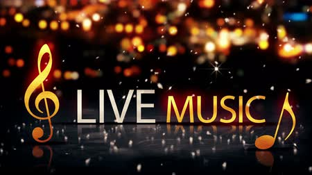 жить : Live Music Gold Silver City Bokeh Star Shine Yellow Loop Animation - 4K Resolution Ultra HD UHD