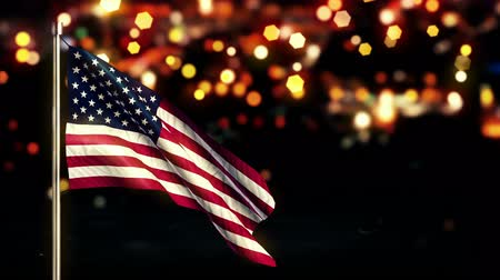 marş : USA America National Flag City Light Night Bokeh Loop Animation - 4K Resolution Ultra HD UHD