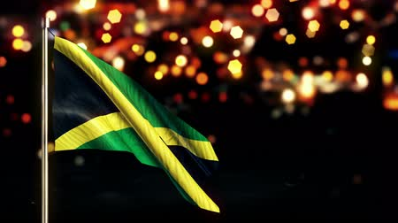 jamaica : Jamaica National Flag City Light Night Bokeh Loop Animation - 4K Resolution Ultra HD UHD
