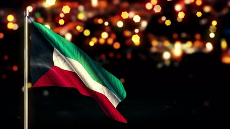 národní vlajka : Kuwait National Flag City Light Night Bokeh Loop Animation - 4K Resolution Ultra HD UHD Dostupné videozáznamy