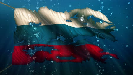 rasgado : Russia Under Water Sea Torn Flag Loop Animation - 4K Resolution Ultra HD UHD