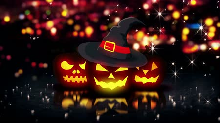 dia das bruxas : Halloween Glowing Three Pumpkins Night City Bokeh Loop - 4K Resolution Ultra HD UHD