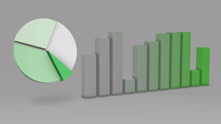 graph : Green Pie Chart Bar Statistic 3D Loop - 4K Ultra HD UHD Stock Footage